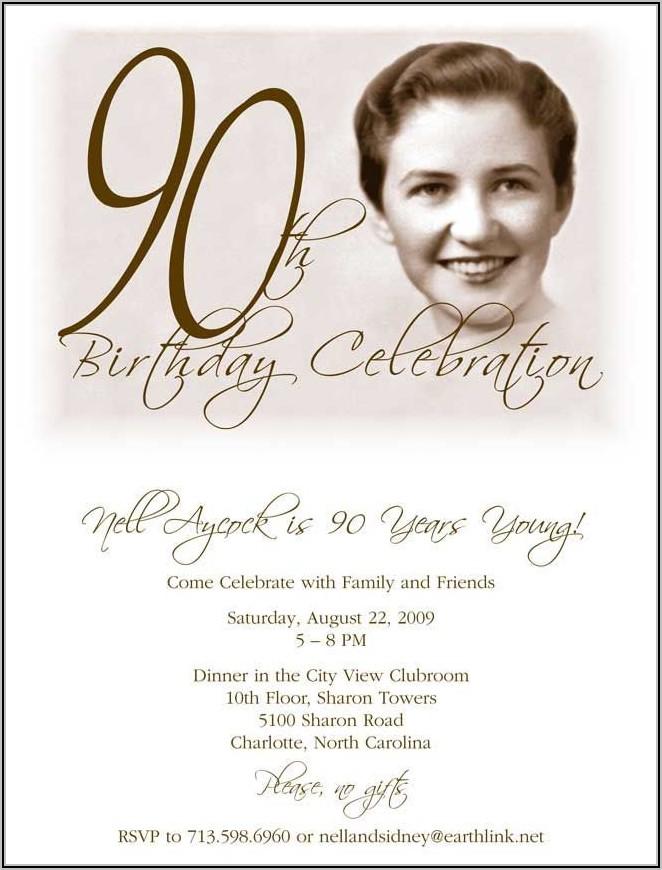 Templates For Birthday Invitations 90th