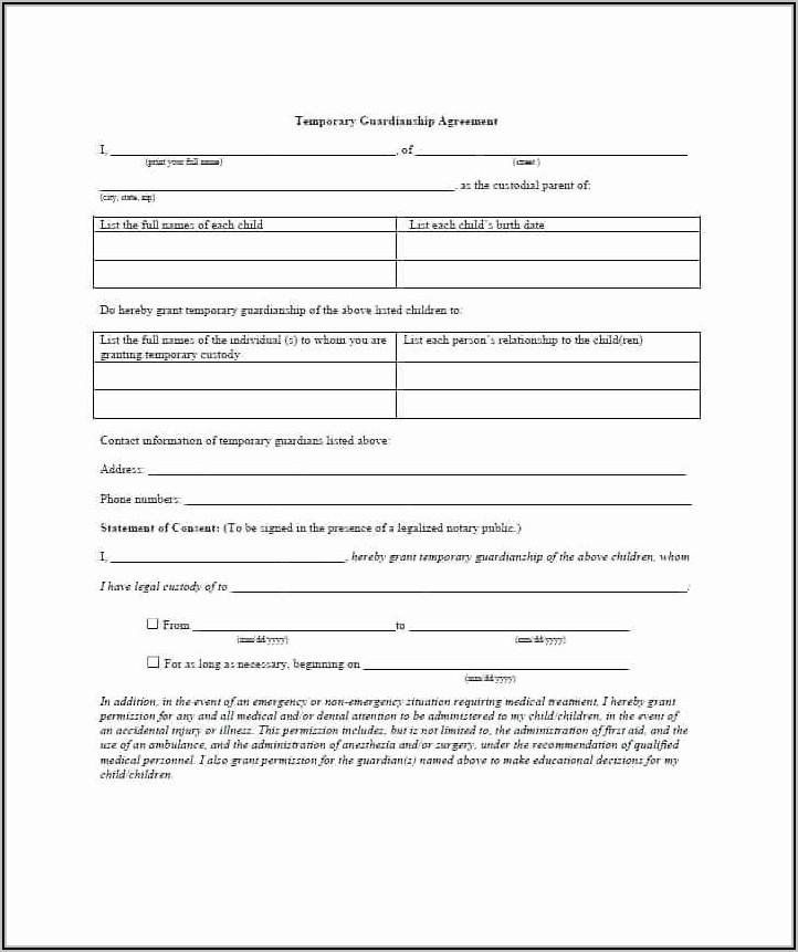 Temporary Custody Form Template