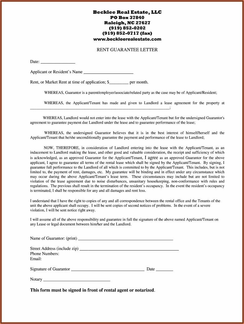 Tenant Guarantor Form Pdf