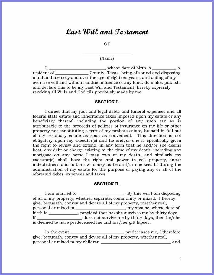 Texas Last Will And Testament Example
