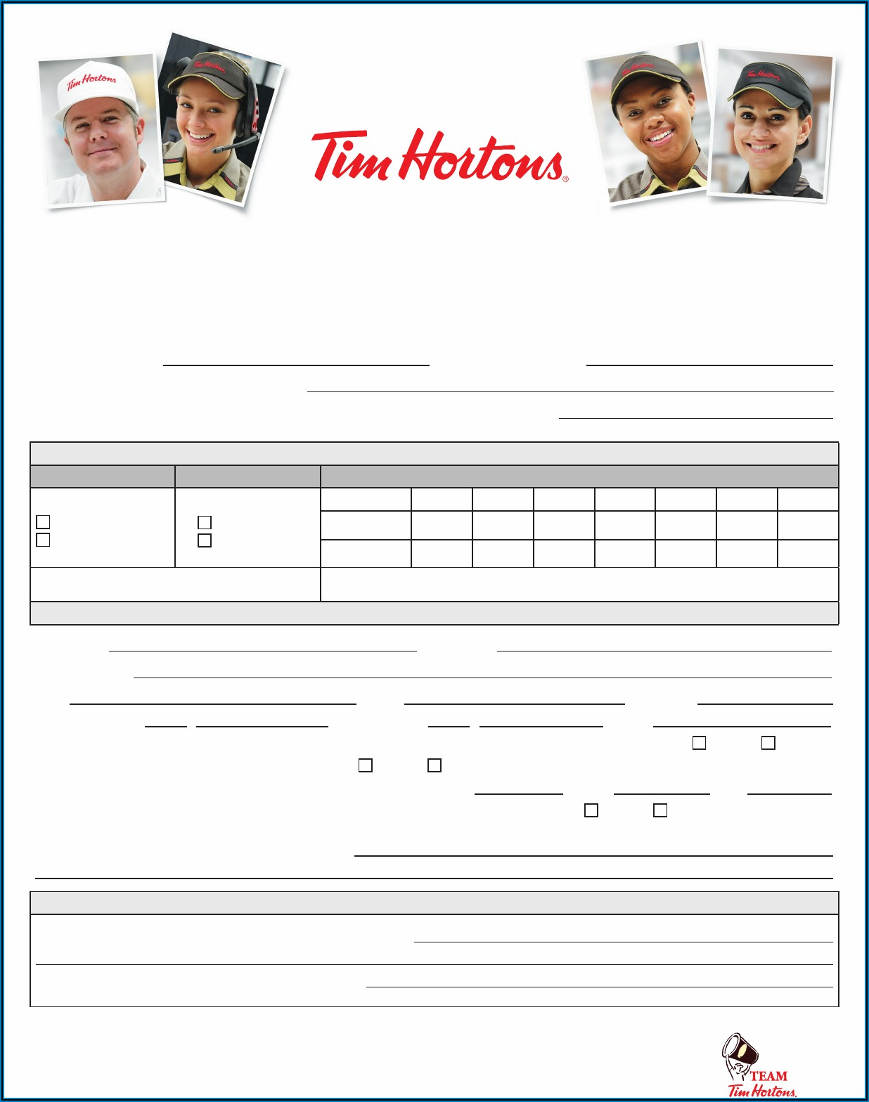 Tim Hortons Application Form 2020
