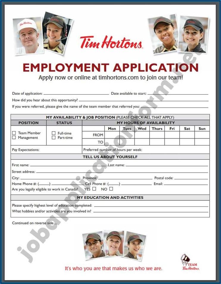 Tim Hortons Application Form Download