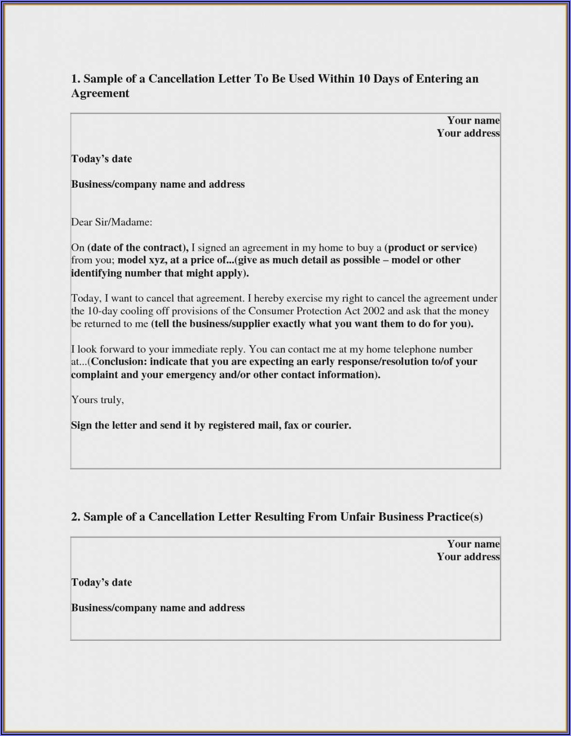 Timeshare Cancellation Timeshare Rescission Letter Template
