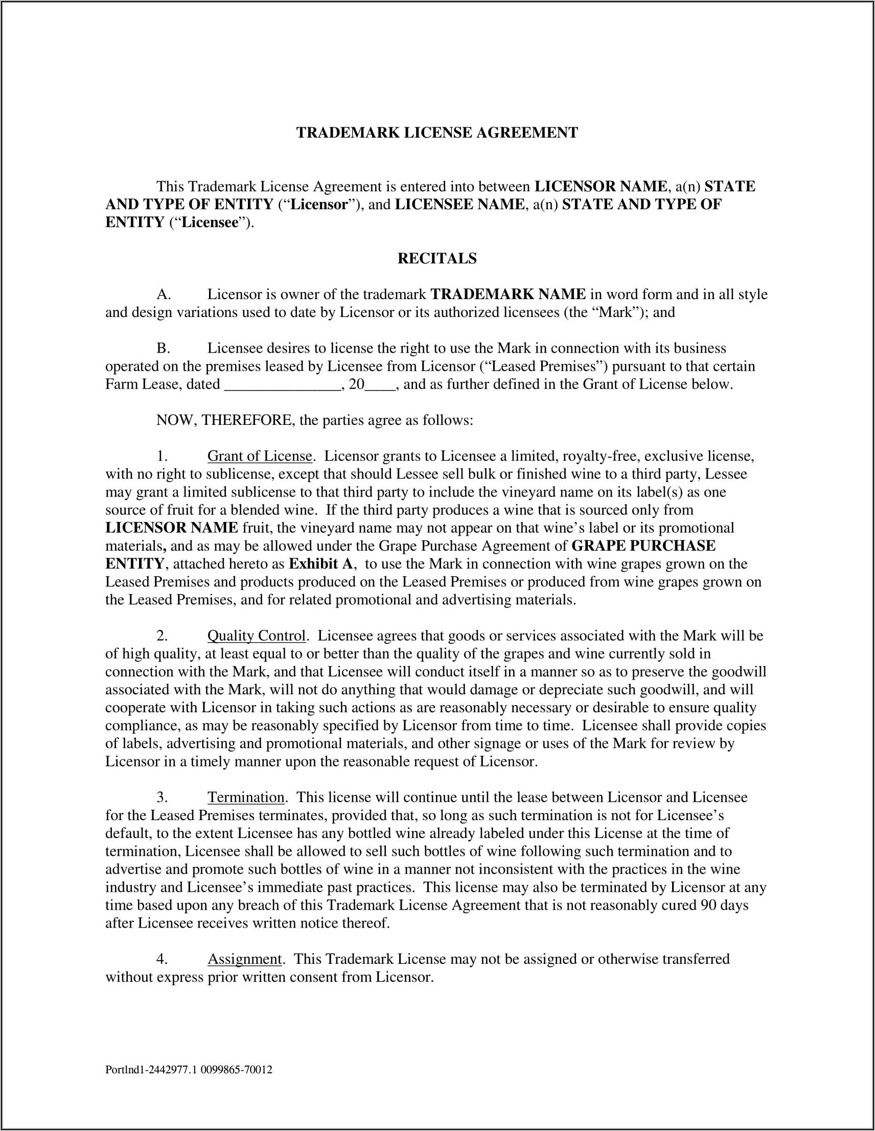 Trademark License Agreement Template India