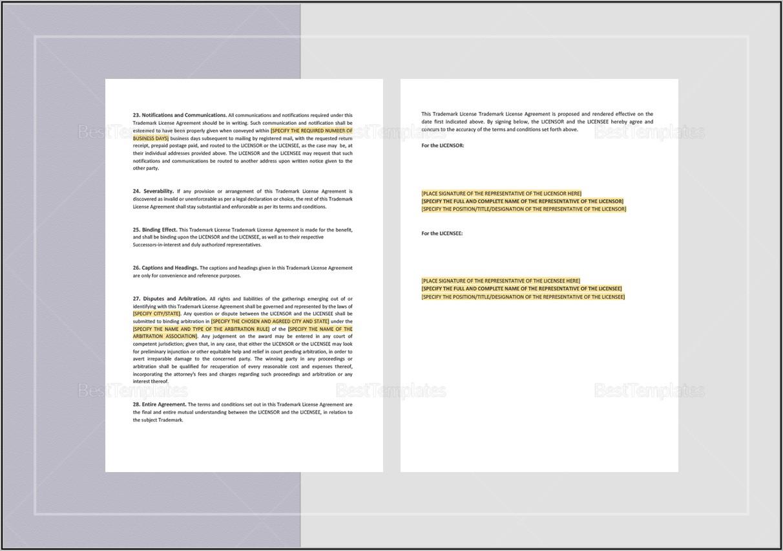 Trademark License Agreement Template