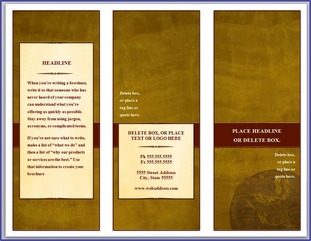 Tri Fold Brochure Template Word Download