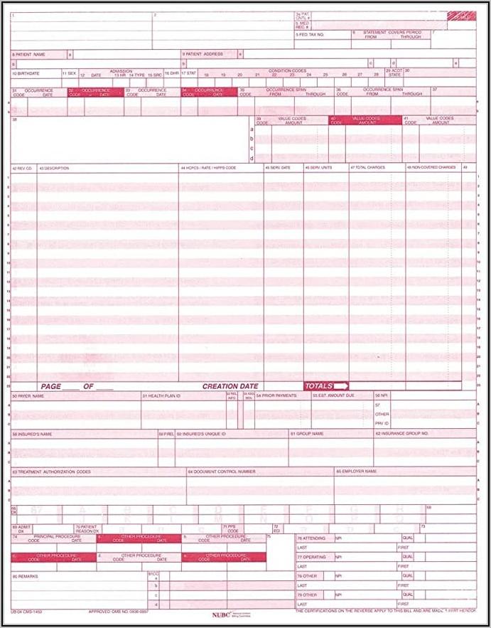 Ub 04 Cms 1450 Form