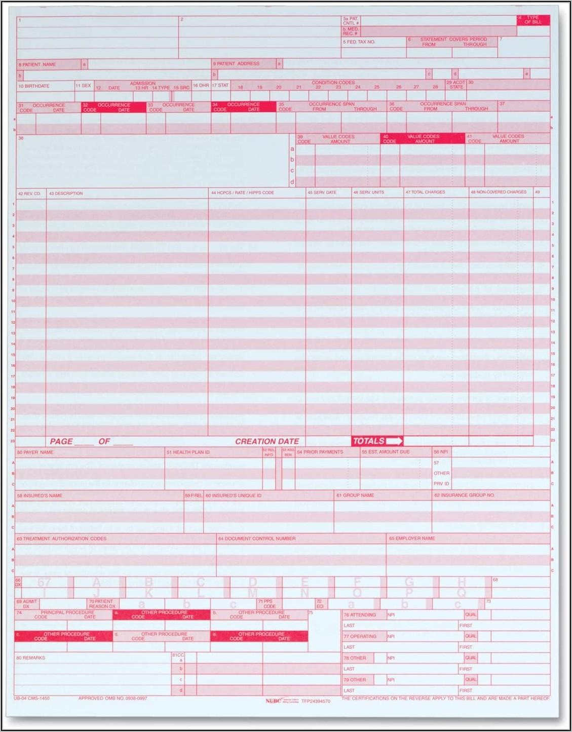 Ub 04 Cms 1450 Paper Claim Form