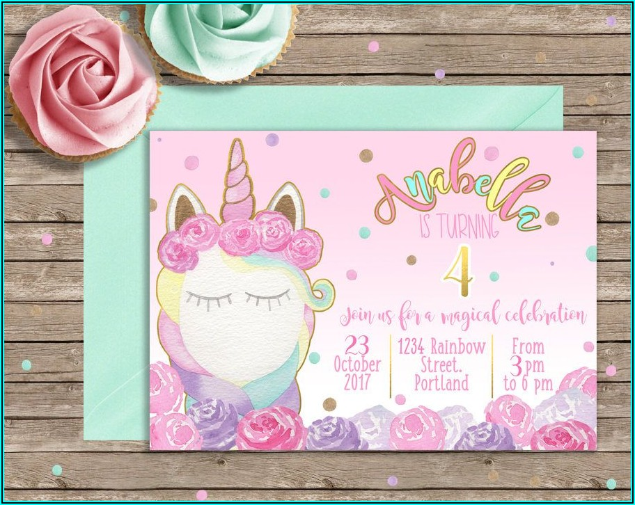 Unicorn Birthday Invitation Card Free Printable