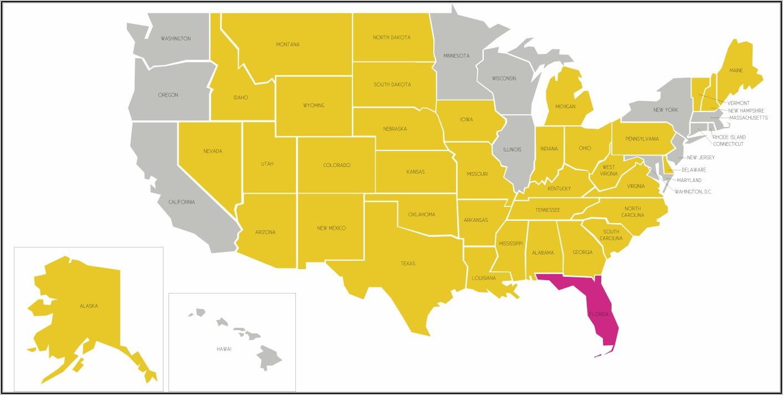 Utah Florida Ccw Reciprocity Map