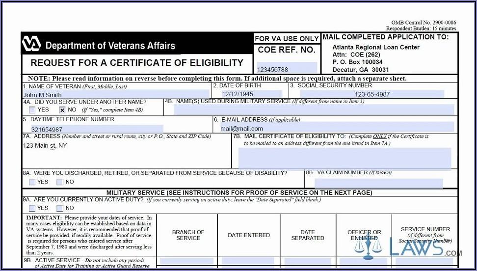 Va Loan Eligibility Certificate