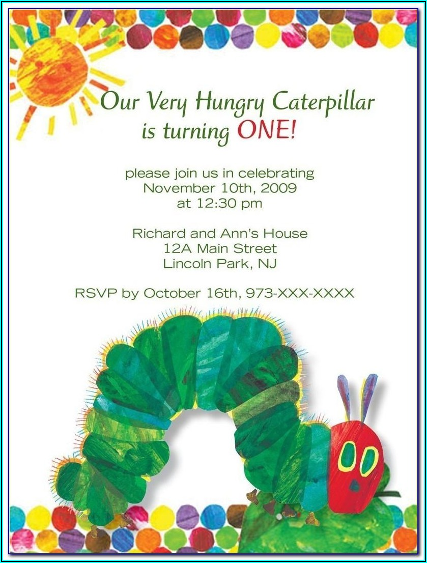 Very Hungry Caterpillar Electronic Invitation