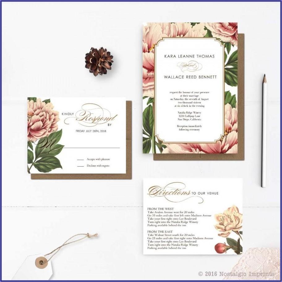 Vintage Botanical Wedding Invitations