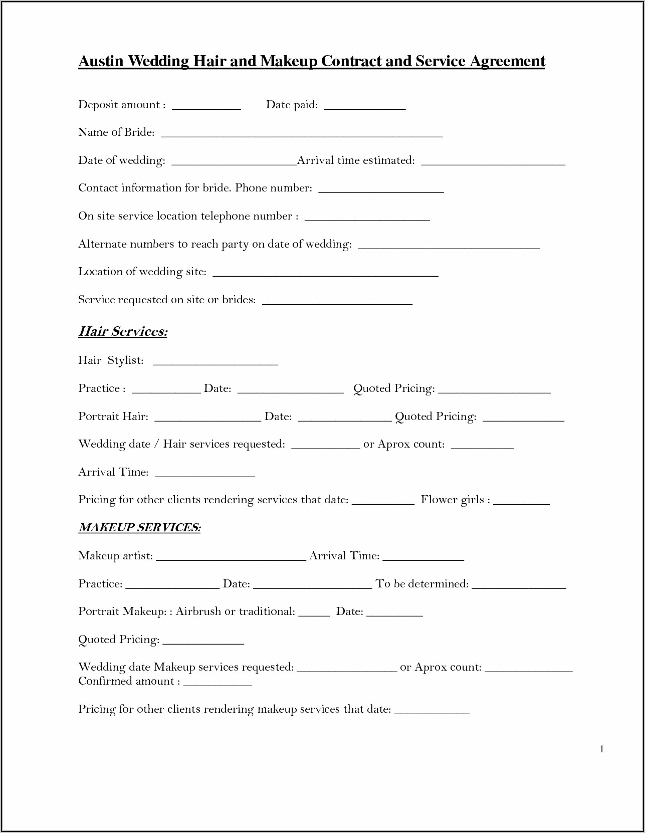 Wedding Contract Template For Hairdresser