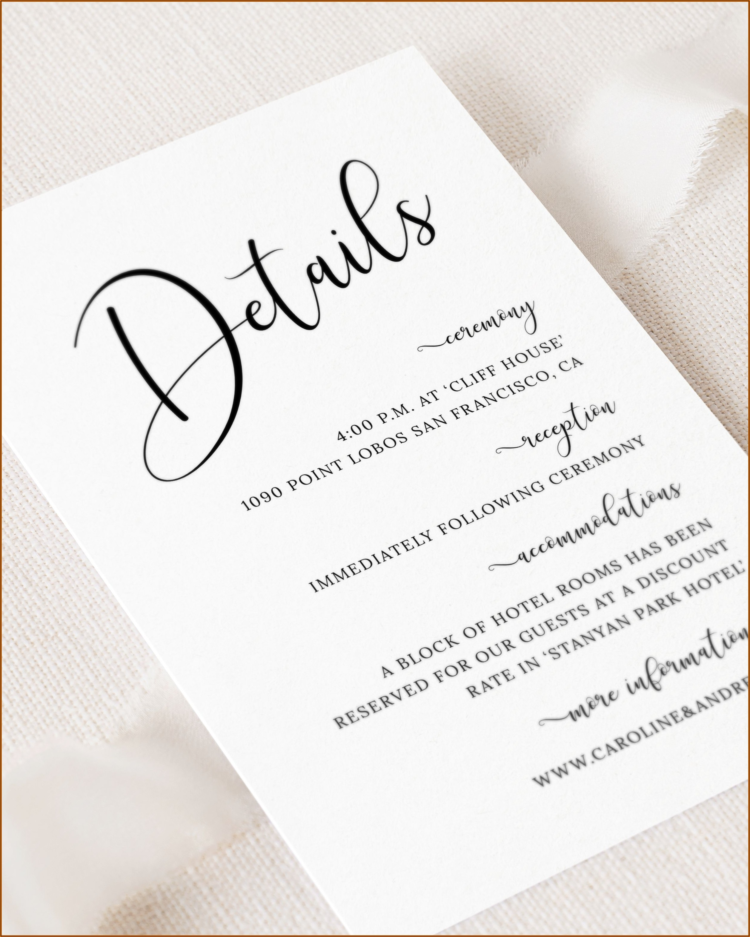 Wedding Details Card Template Free