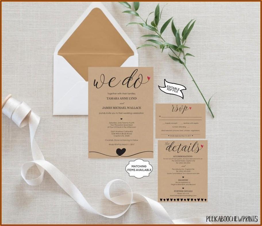 Wedding Invitation Details Card Template