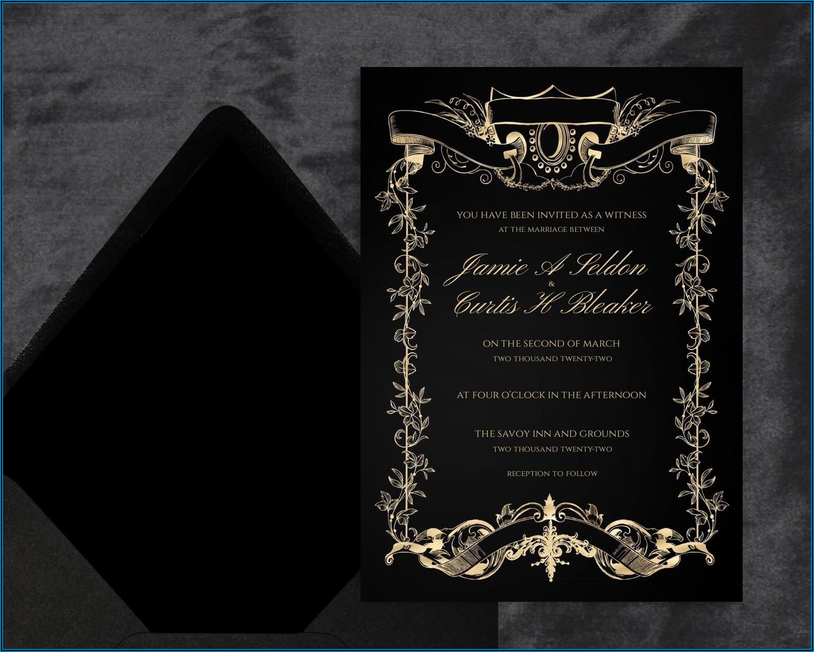 Wedding Invitation Templates Black And Gold