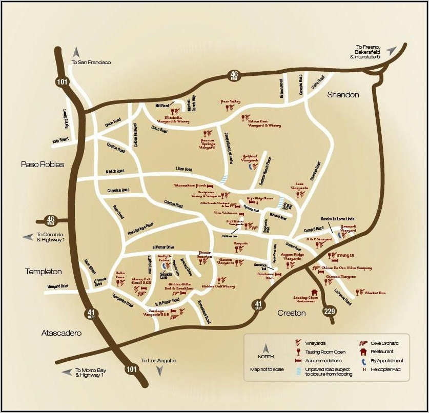 Wine Tasting Paso Robles Winery Map