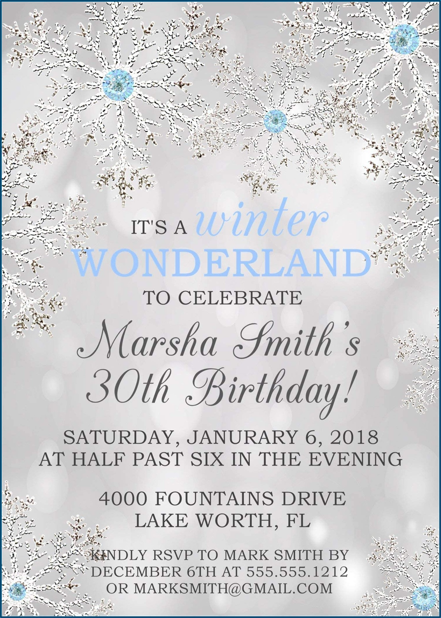 Winter Wonderland Sweet 16 Invitation Wording