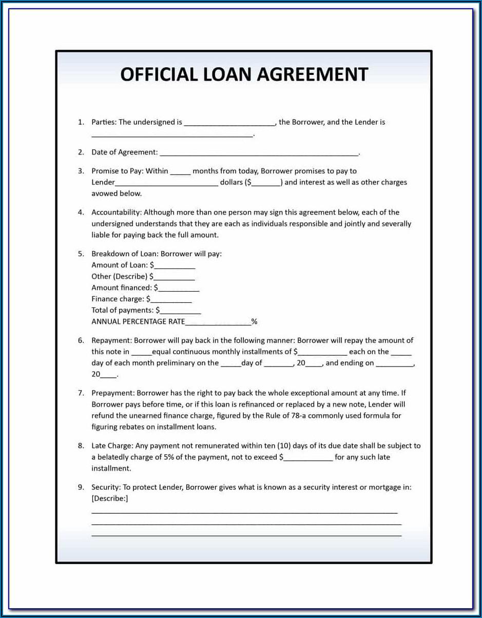 Word Printable Loan Agreement Template