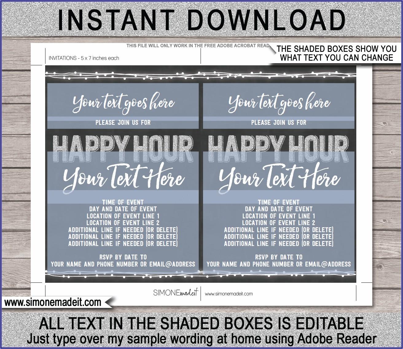 Work Happy Hour Invite Template Free