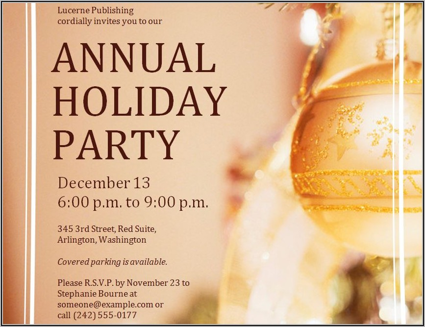 Work Holiday Party Flyer Template