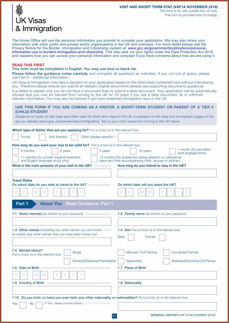 Www Uk Visit Visa Application Form