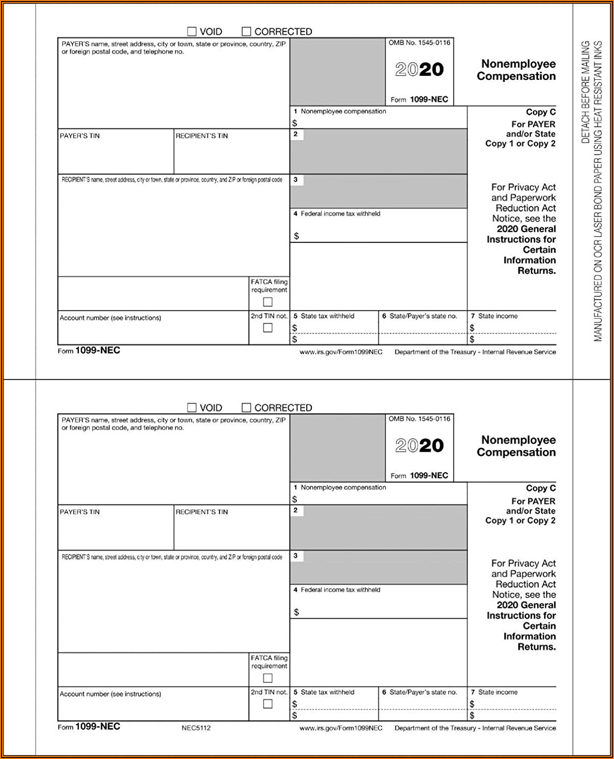 1099 Nec Laser Tax Forms