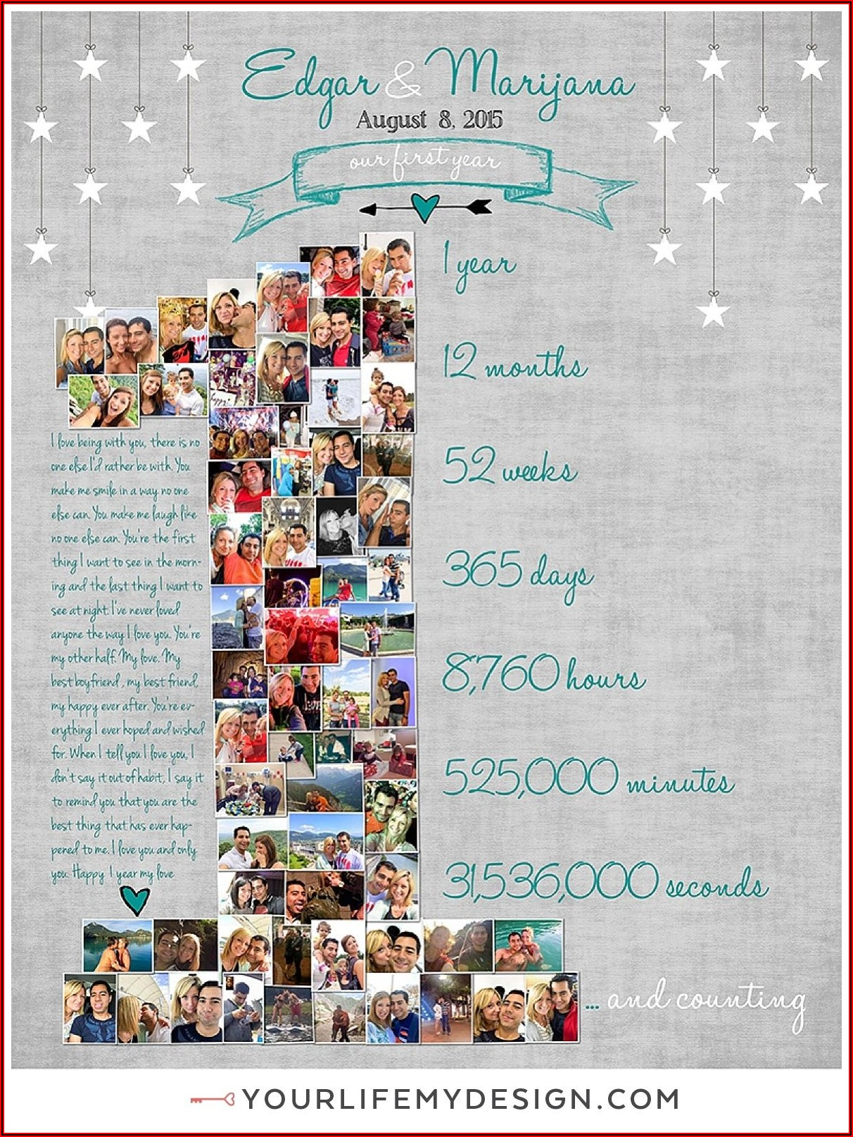 1st Birthday Photo Collage Template