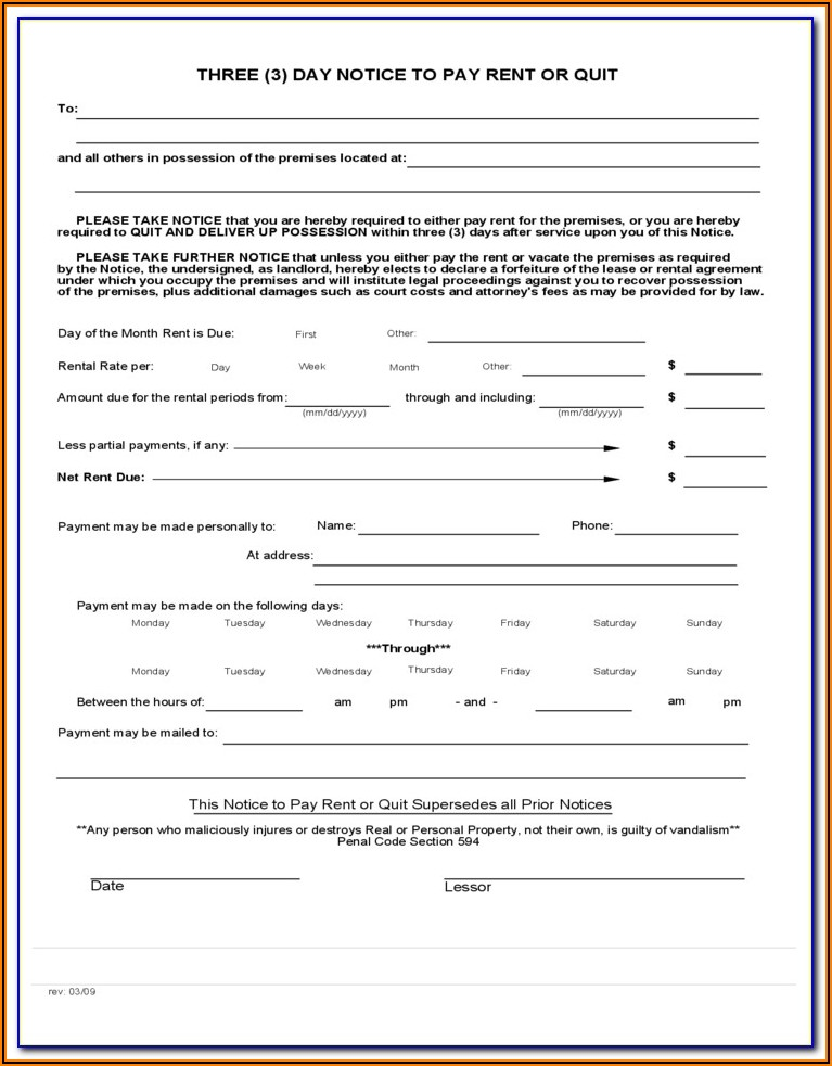 30 Day Notice To Quit Form California