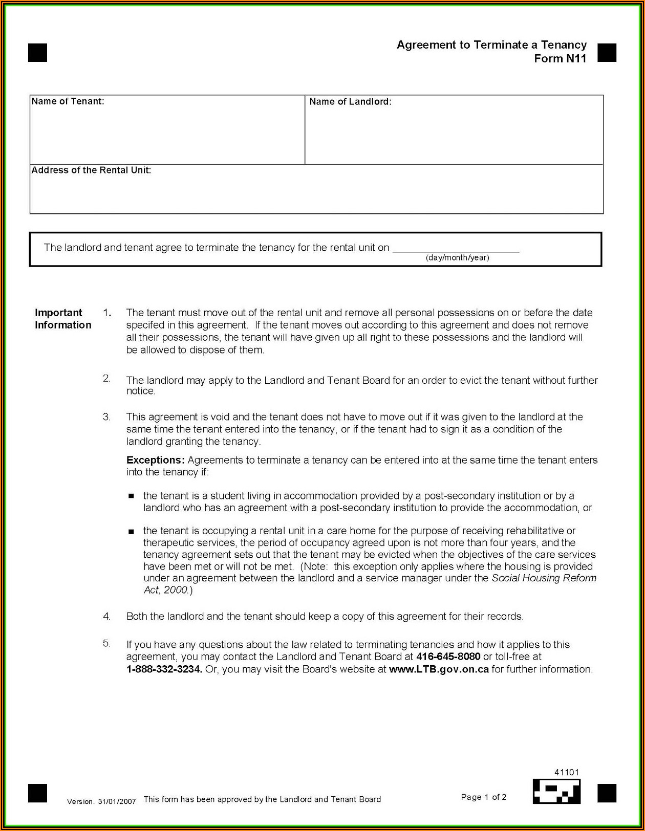 30 Day Notice To Terminate Tenancy Form