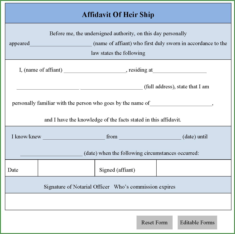 Affidavit Of Heirship Forms