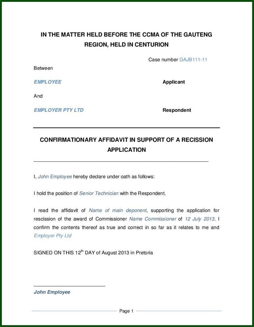 Affidavit Template South Africa Pdf