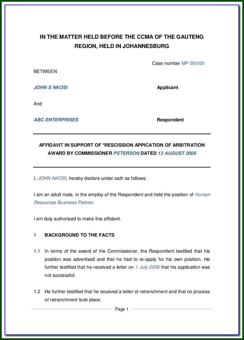 Affidavit Template South Africa