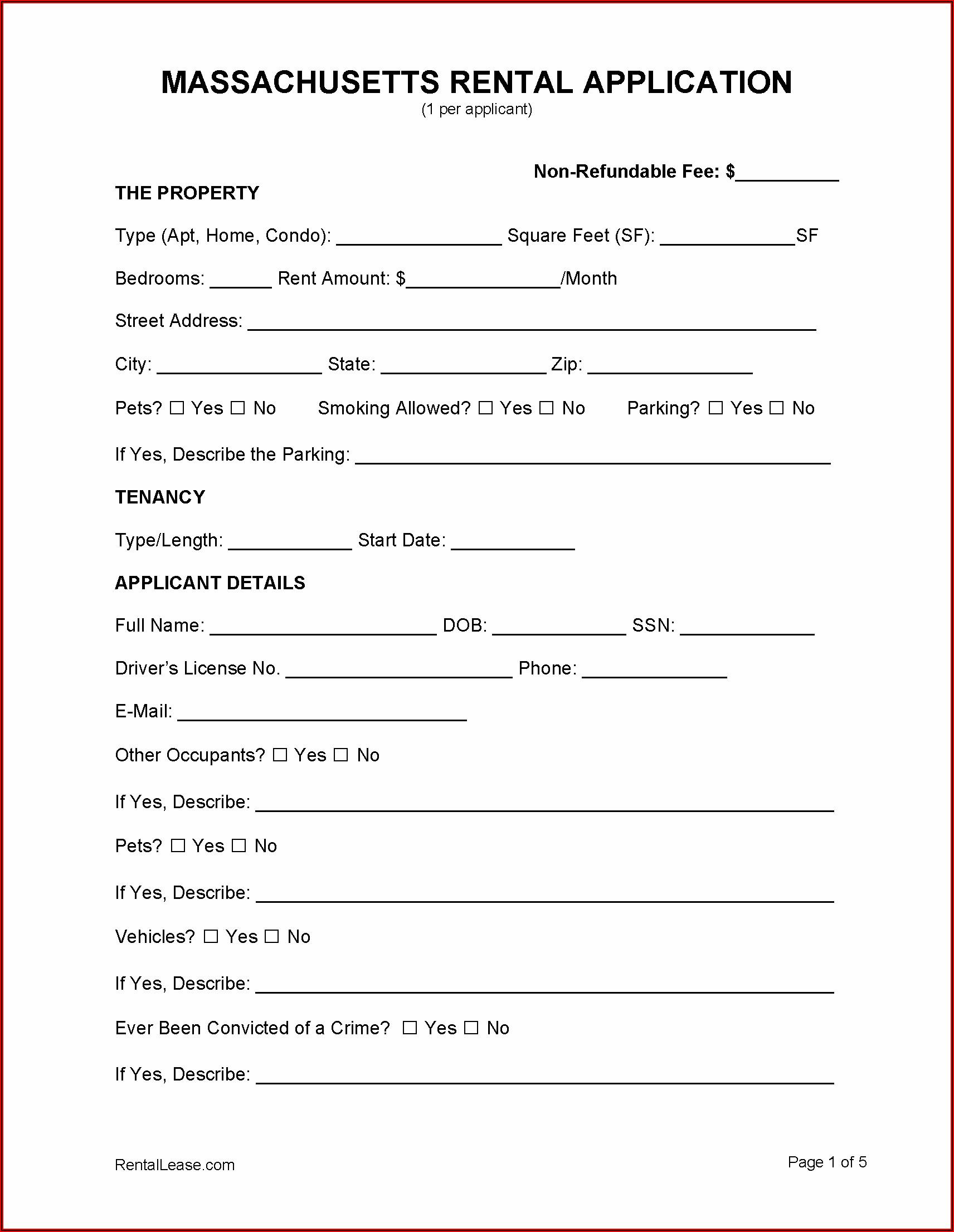 Apartment Rental Application Form Massachusetts