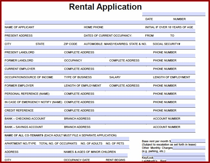 Apartment Rental Application Template Free