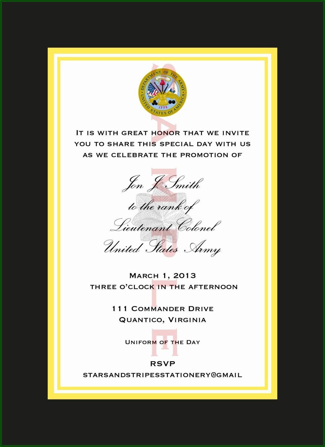 Army Retirement Ceremony Invitation Template