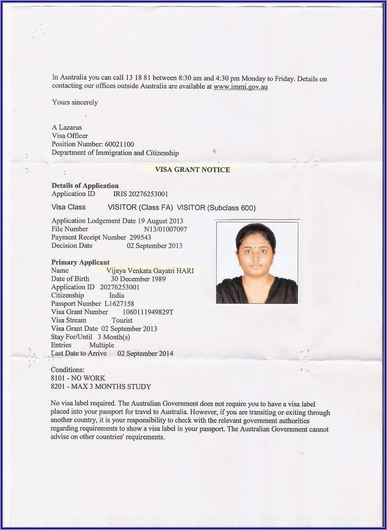 Australian Visitor Visa Form