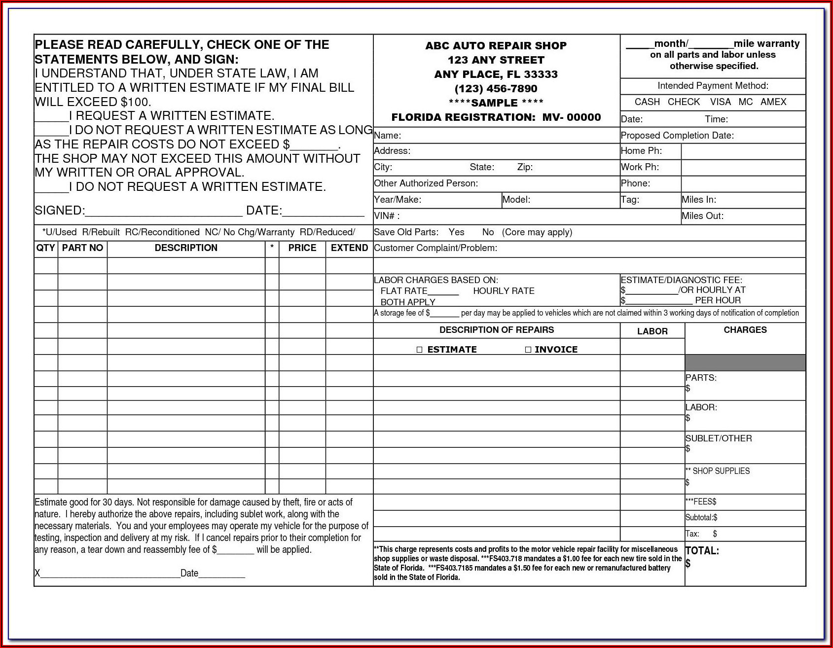Auto Repair Invoices Template For Free