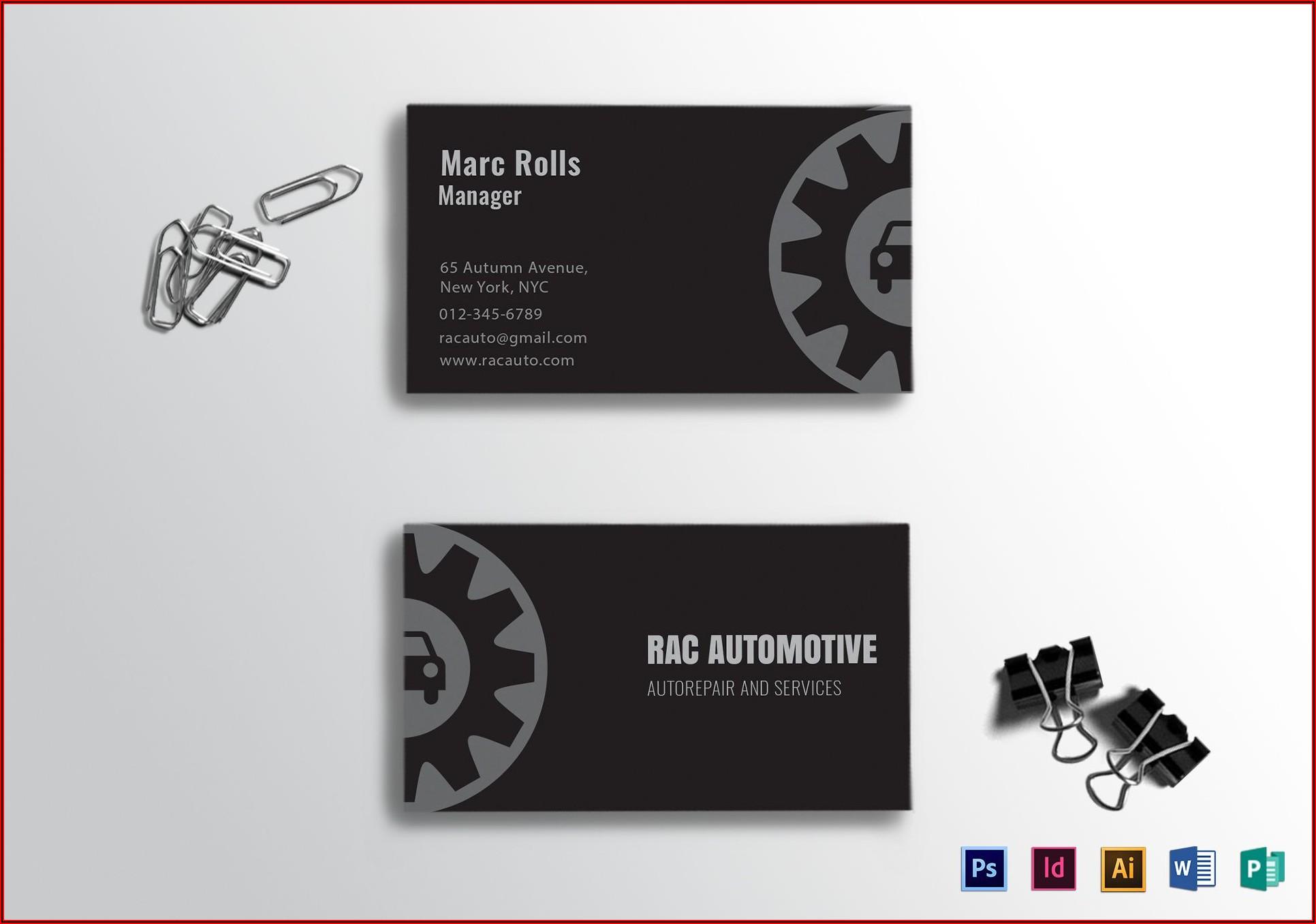 Automotive Business Card Templates Free