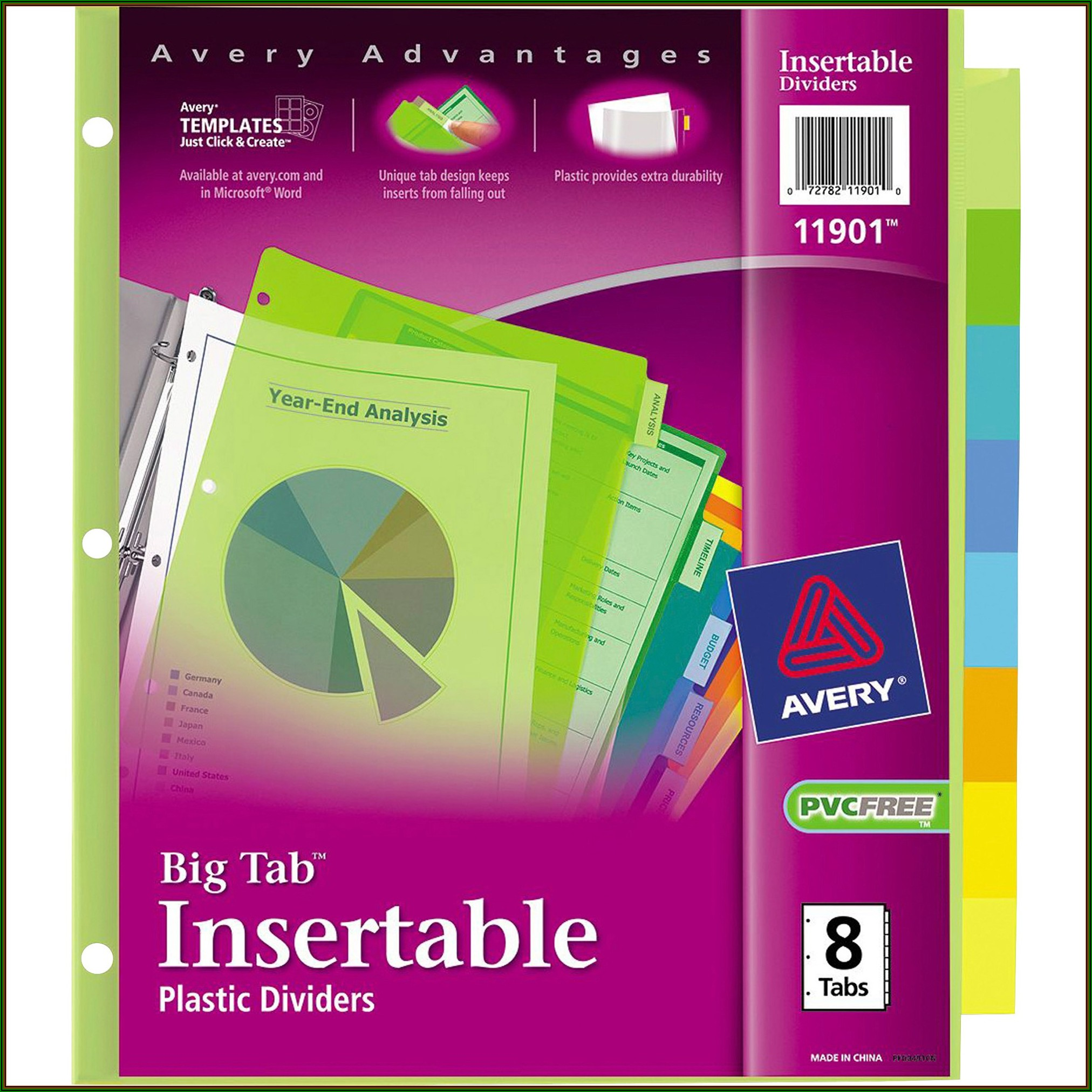 Avery 8 Tab Clear Label Dividers Template Word