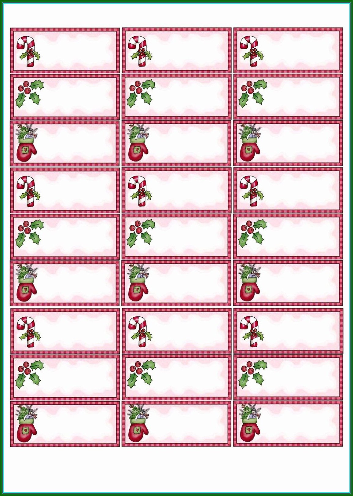 Avery 8160 Christmas Label Template