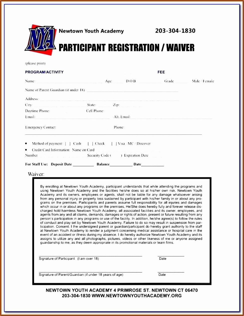 Baseball Camp Registration Form