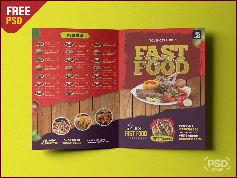 Bi Fold Restaurant Food Menu Template
