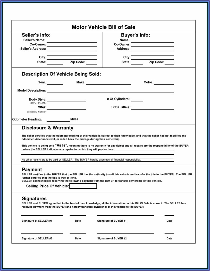 Bill Of Sale Template For Car California