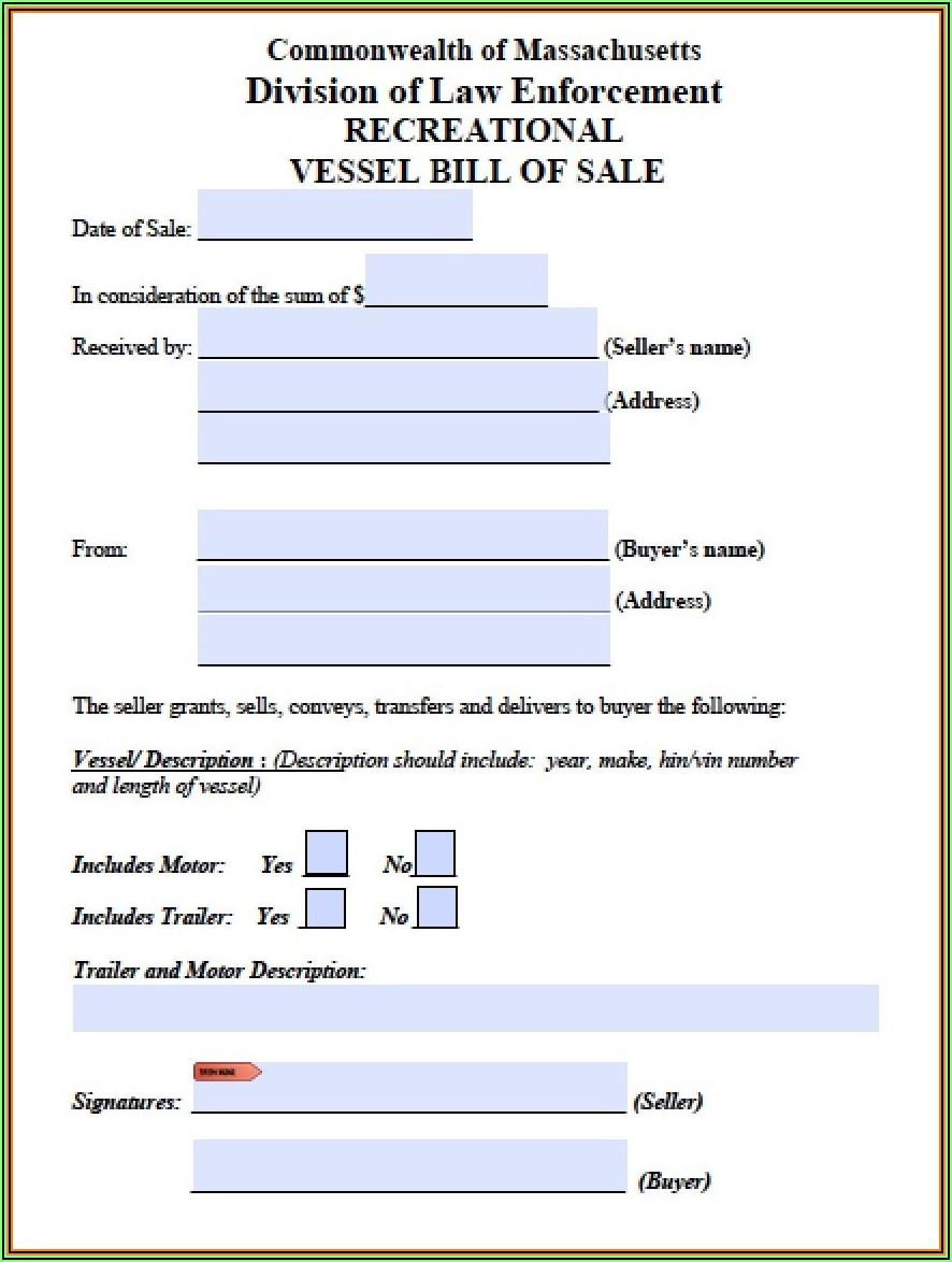 Blank Auto Bill Of Sale Template
