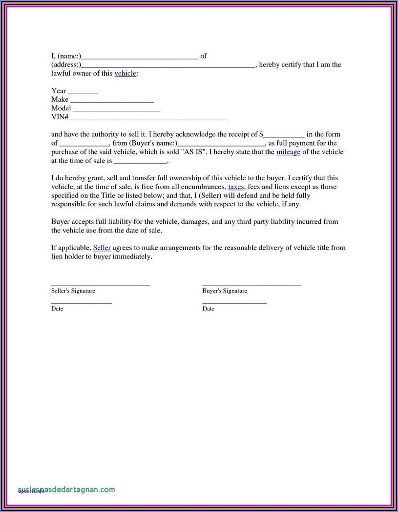 Blank Bill Of Sale Form For Car