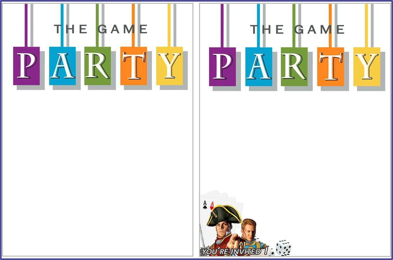 Blank Game Night Invitation Template