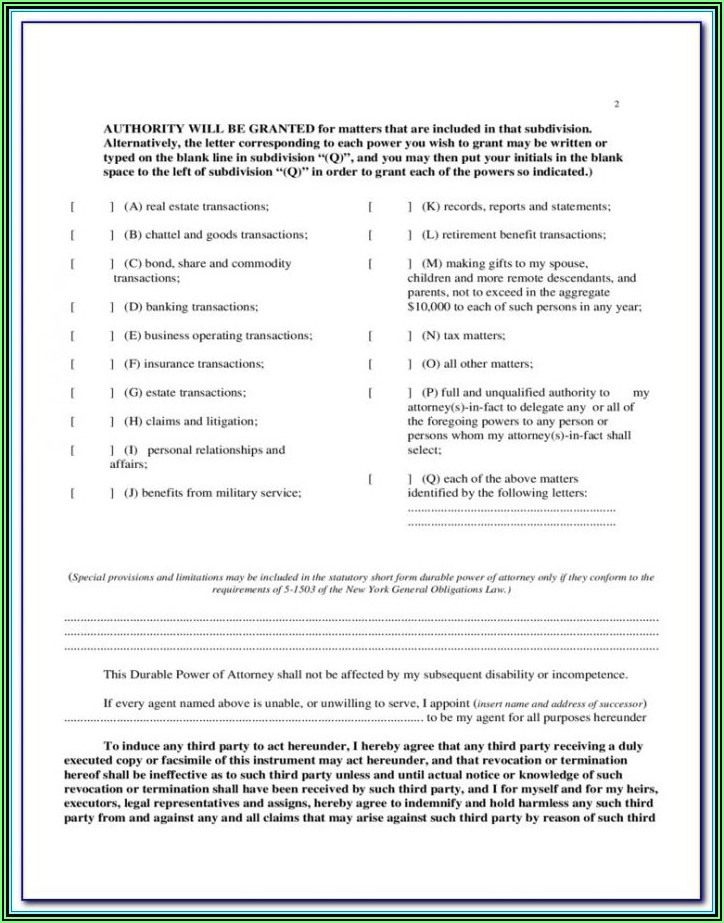 Blank General Durable Power Of Attorney Form