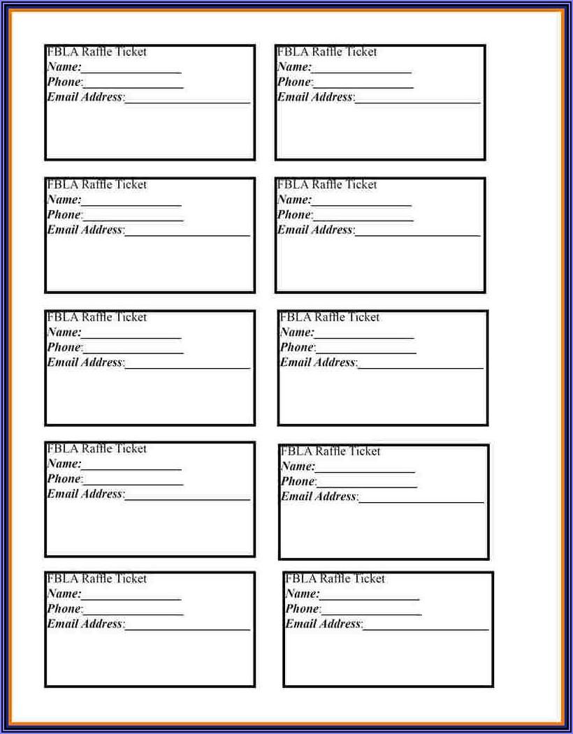 Blank Raffle Sheet Template